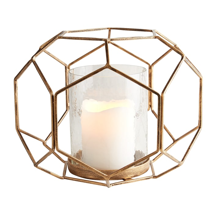Golden Geometric Hurricane Candle Holder