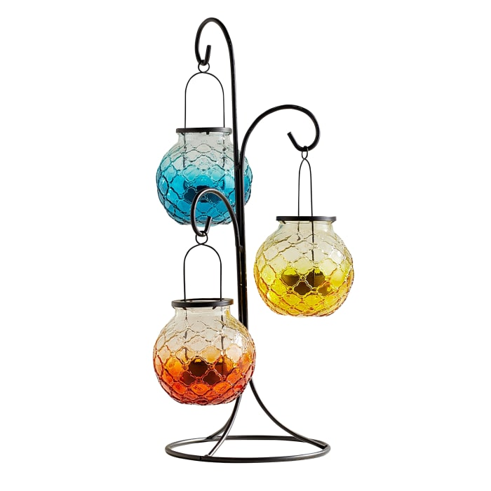 Medallion Ombre Glass Hanging Tealight Lantern