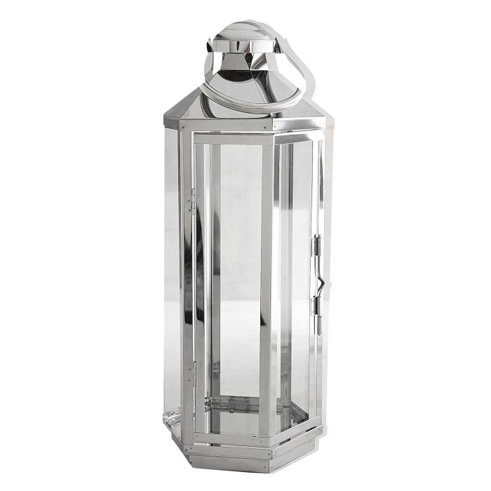 Large Chrome Hexagon Lantern