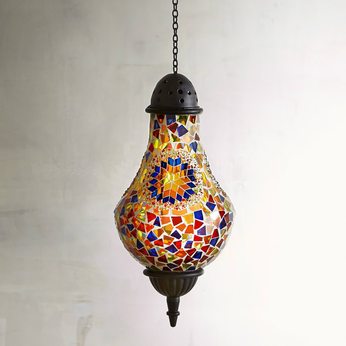 Mosaic Sunrays Hanging Tealight Lantern