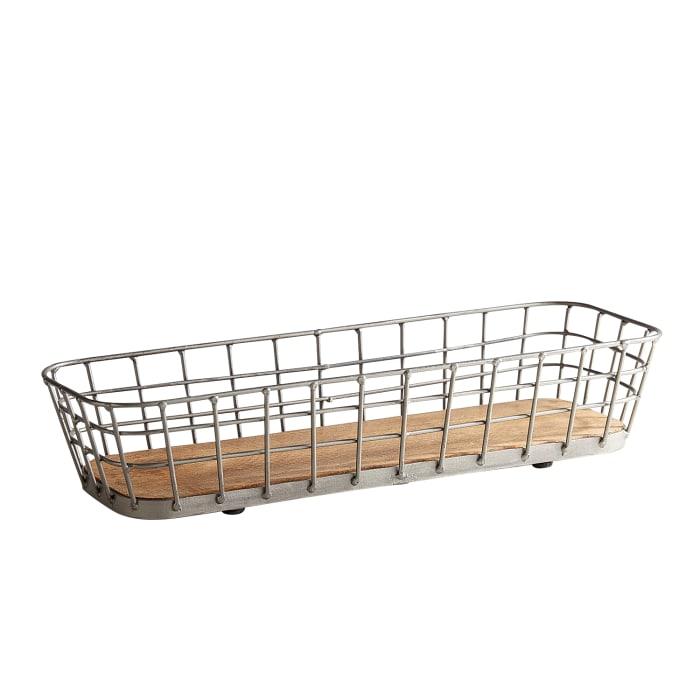 Farmhouse Wooden & Metal Bread Basket