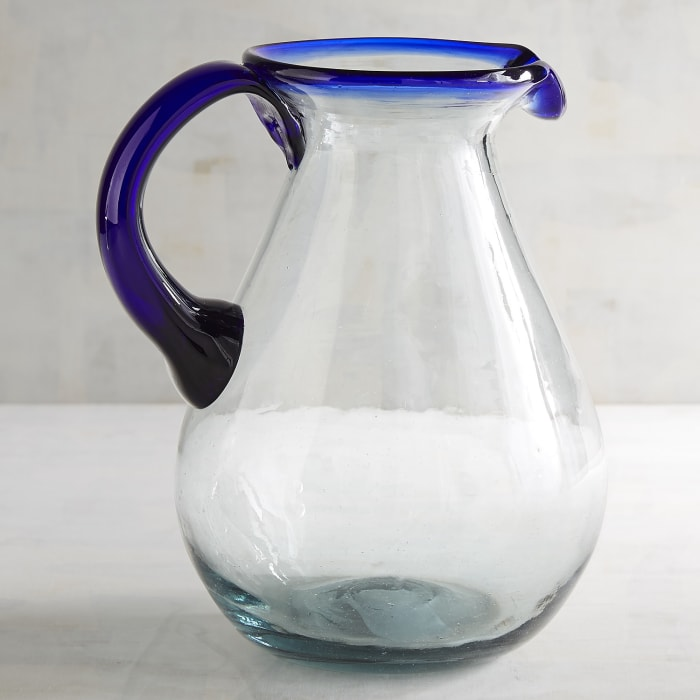 Blue Rim Glass Pitcher