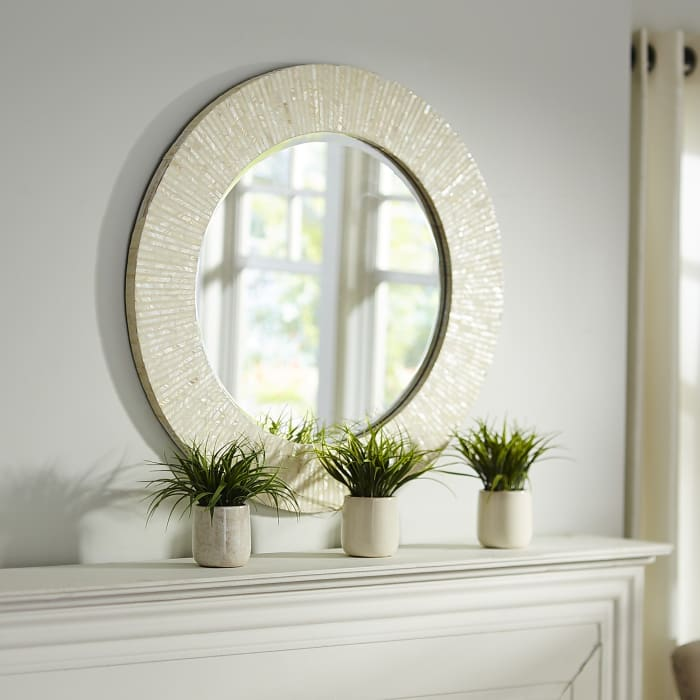 Ivory Mother-of-Pearl Round Mirror