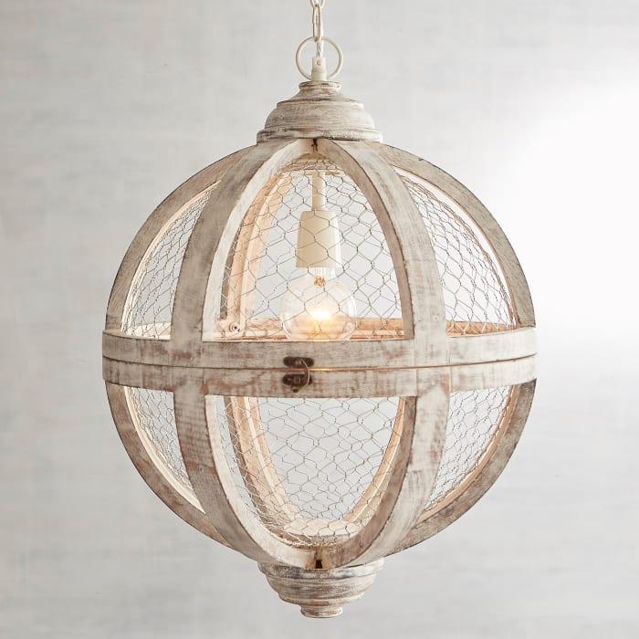 Rosard Wooden Gray Wash Convertible Pendant Light