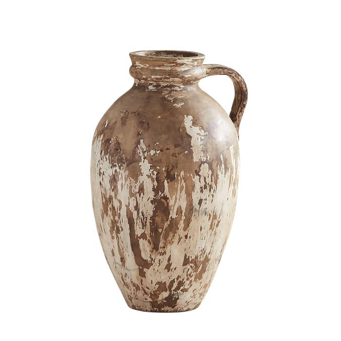 Antiqued Ivory Floor Vase
