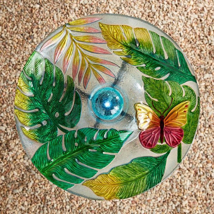 LED Solar Glass Tropical Bird Bath