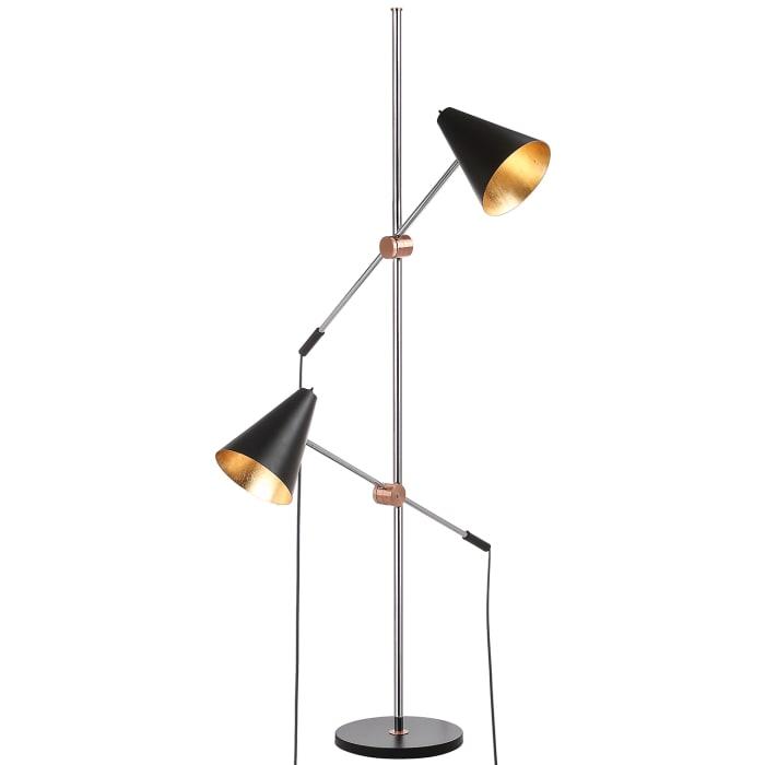 Asym 2-Light Black & Gold Floor Lamp