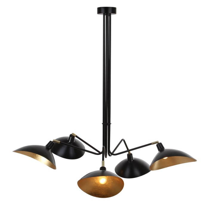 Black & Gold 5-Light Pendant Light
