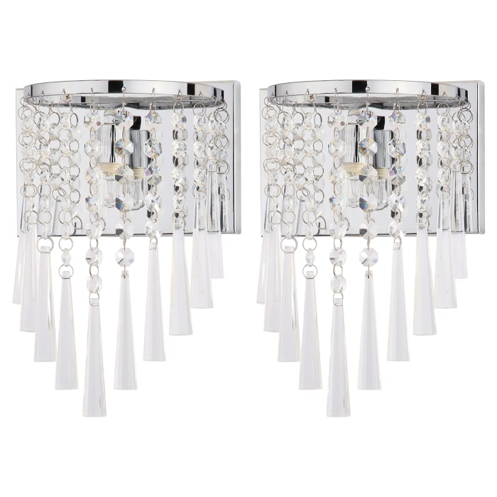 Chrome Beaded Wall Sconce Set of 2