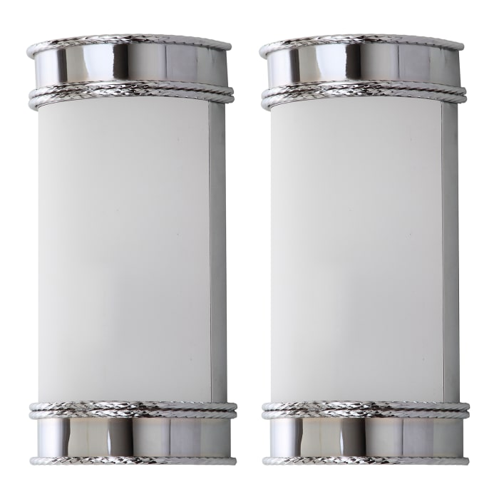 Industrial Chrome Flush Wall Sconces Set of 2