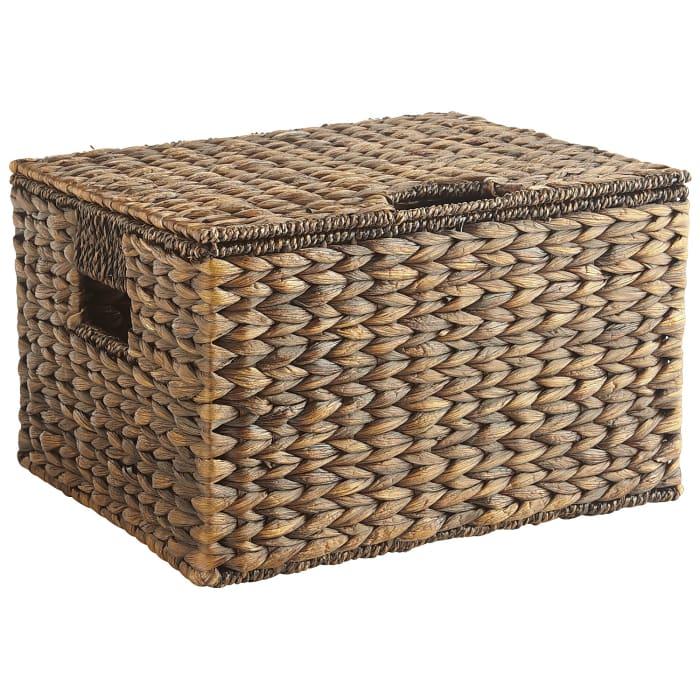 Carson Espresso Wicker Rectangular Lidded Storage Basket