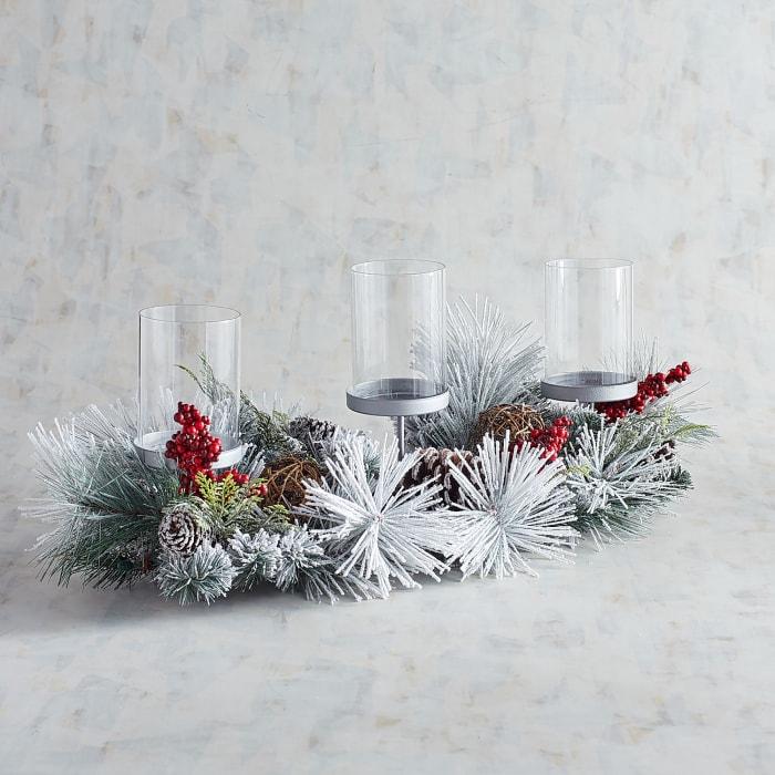 Snowy Pinecone 3-Pillar Candle Holder