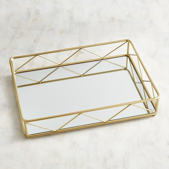 Modern Golden Mirrored Serving Tray