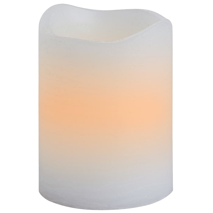 LED 3x4 White Distressed Pillar Candle