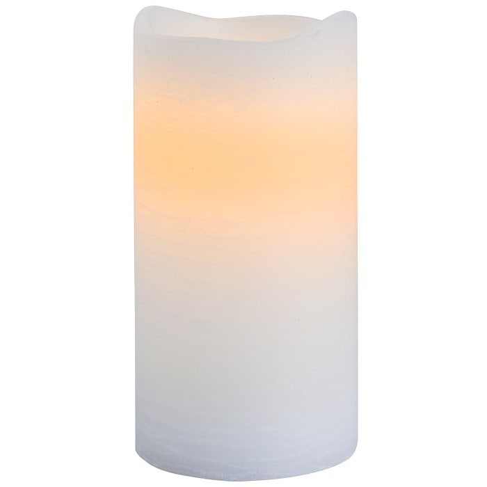 LED 3x6 White Distressed Pillar Candle