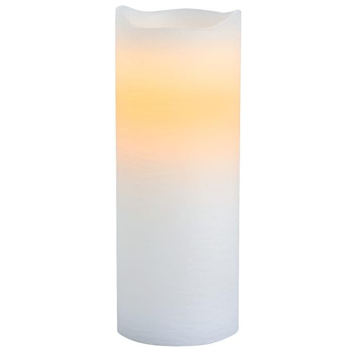LED 3x8 White Distressed Pillar Candle