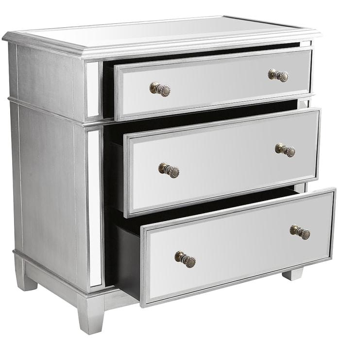 oversized hayworth mirrored silver 3 drawer dresser