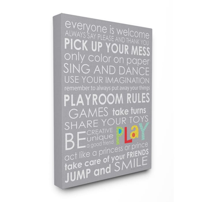30x40 Playroom Rules Canvas Wall Art