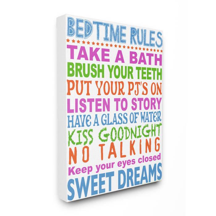 Rules for Sleepytime Typography Wall Art