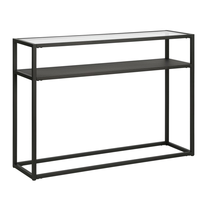 Nellie Blackened Bronze Console Table with Metal Mesh Shelf