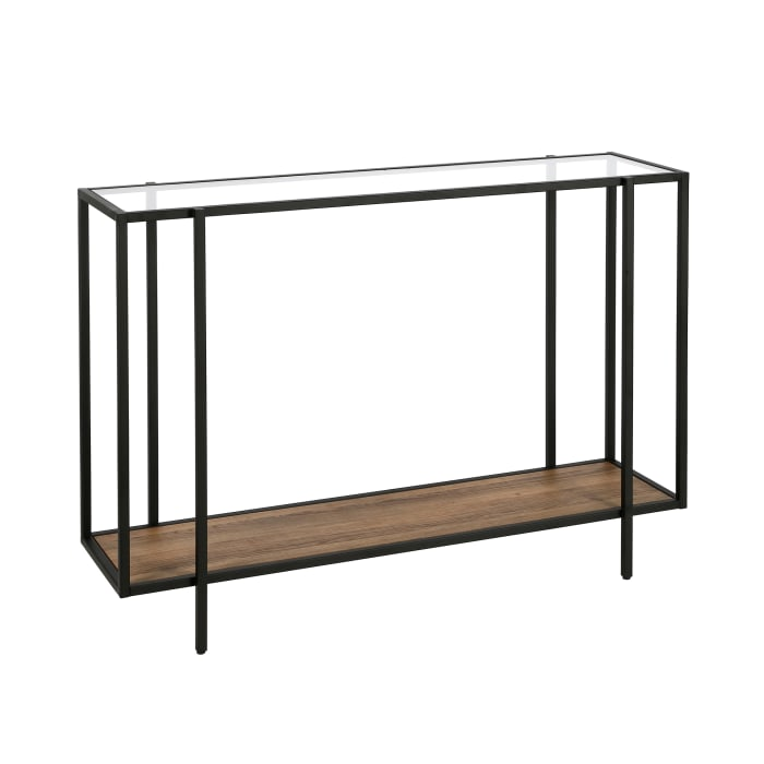 Vireo Blackened Bronze and Rustic Oak Accent Table