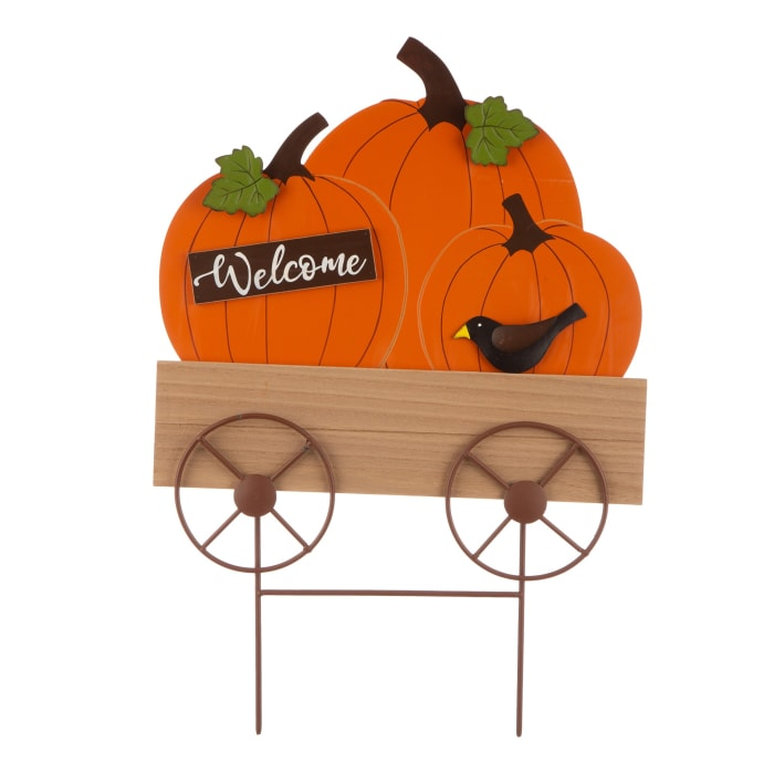 Fall Metal and Wooden Pumpkin Cart Yard Stake or Hanging Decor