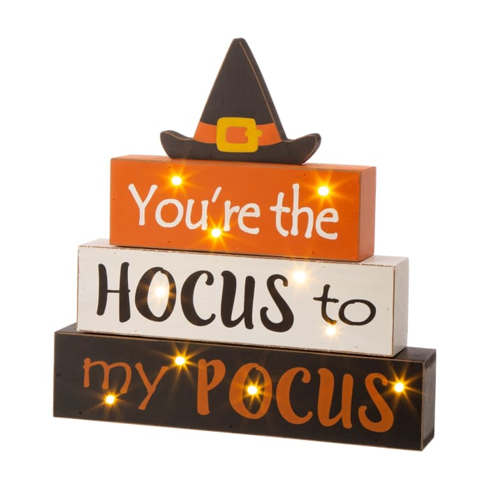 Halloween Wooden Lighted Witch/Word Block Table Decor