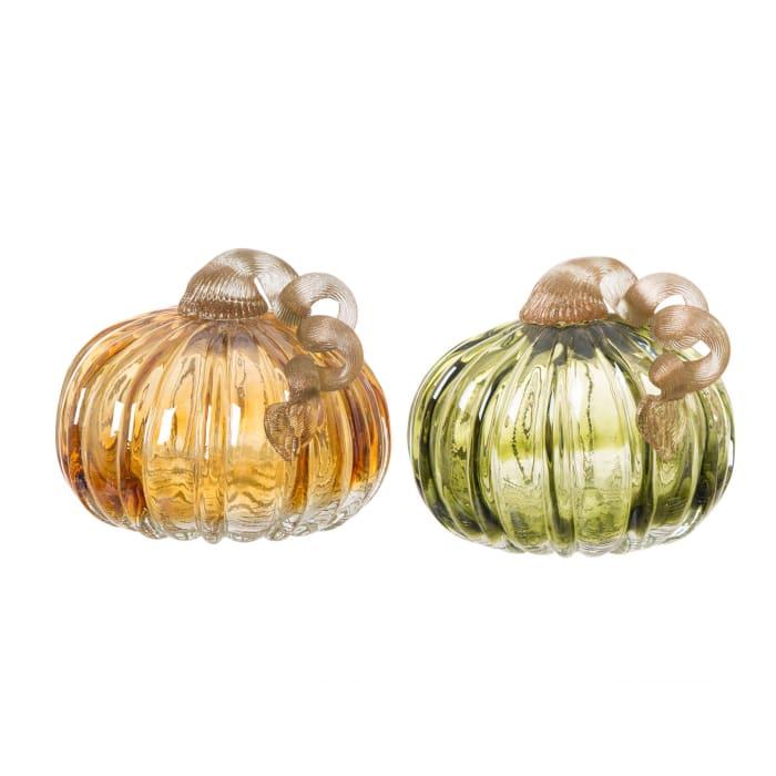 Set of 2 Green and Amber Crackle Glass Short Pumpkin