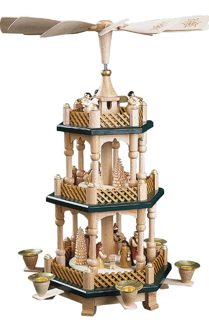 Richard Glaesser Pyramid - 3 tiers - Nativity Scene, Wise men, Shepherds and Angels