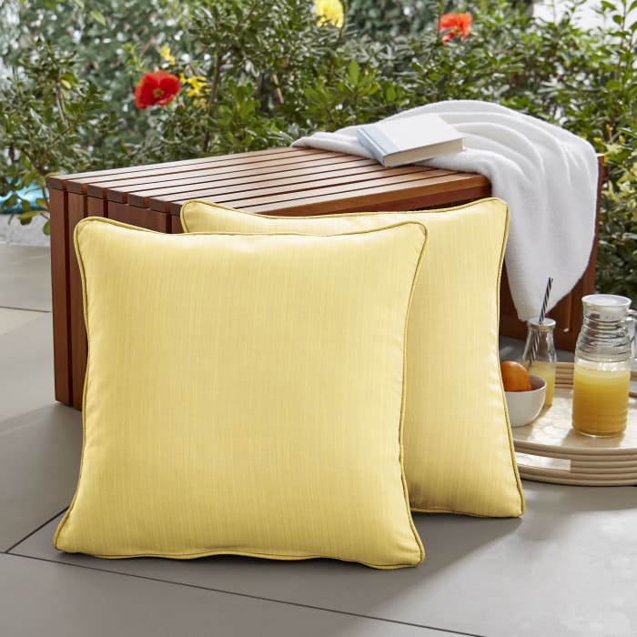 Sunbrella Corded in Dupione Cornsilk Outdoor Pillows Set of 2