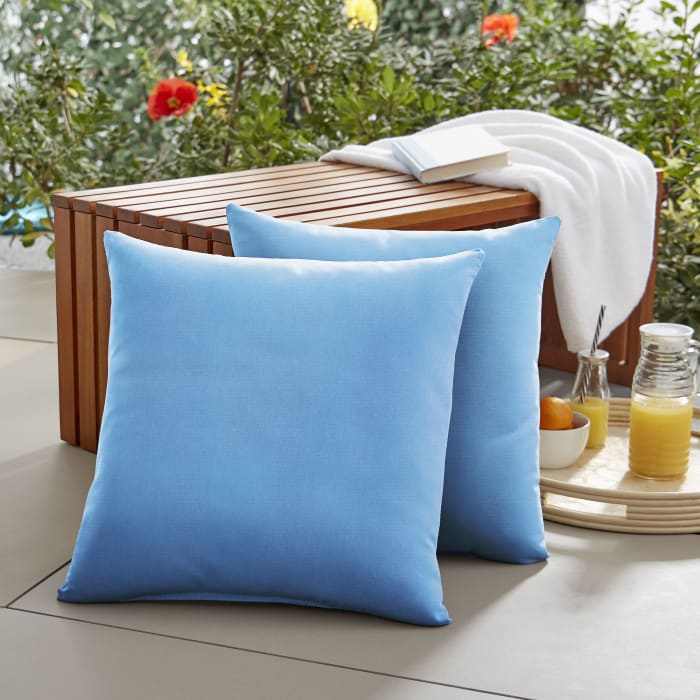 Sunbrella Knife Edge in Canvas Capri Outdoor Pillows Set of 2