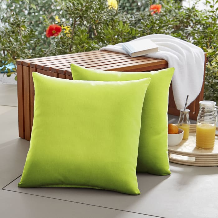 Sunbrella Knife Edge in Canvas Macaw Outdoor Pillows Set of 2