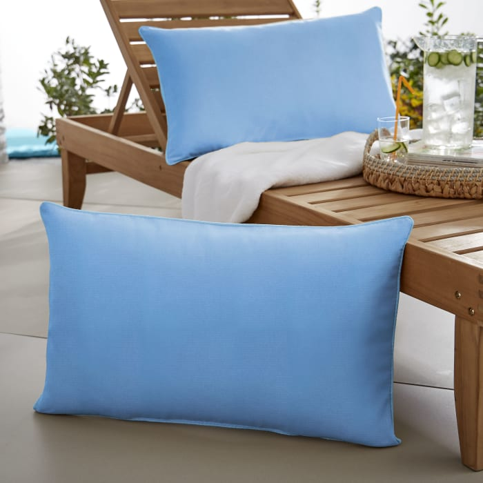 Sunbrella Oversized Corded in Canvas Capri Outdoor Pillows Set of 2
