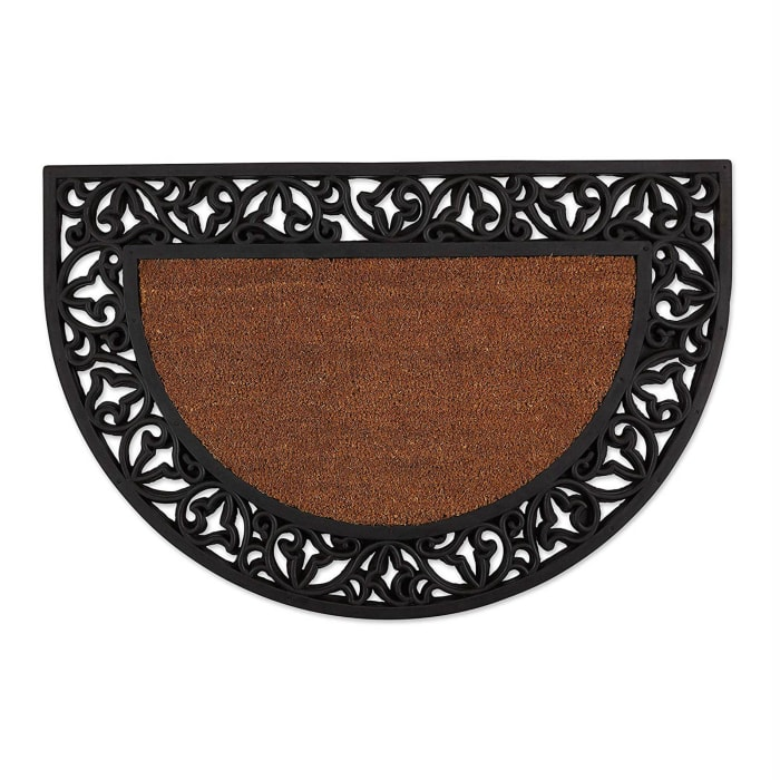 J&M Half Round Tuffridge Leaves Rubber/Coir Doormat 24x36