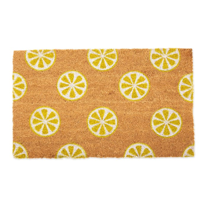 J&M Limes Vinyl Back Coir Doormat 18x30