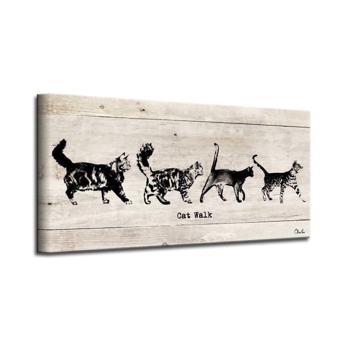 Prancing Kitties Beige Canvas Pet Wall Art