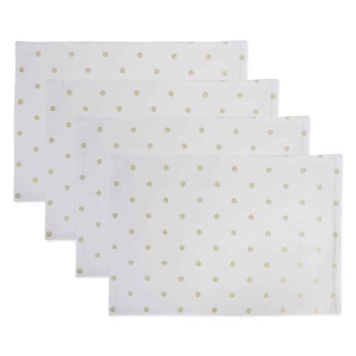 Reversible Polka Dot Placemat(Set of 4) Metallic Gold/White
