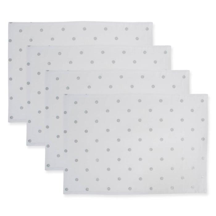 Reversible Polka Dot Placemat(Set of 4) Metallic Silver/White