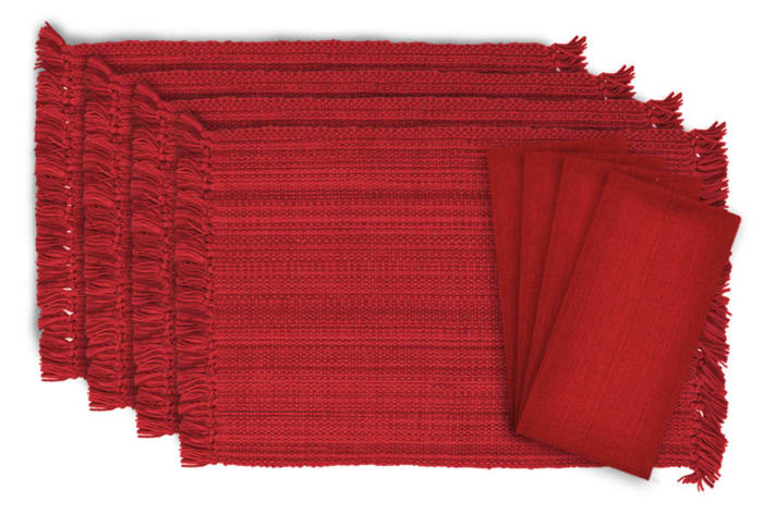 Variegated Red Fringe Placemat & Napkin (Set of 8)