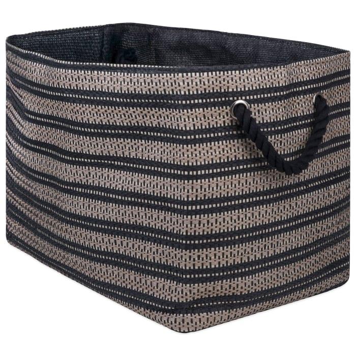Paper Bin Basketweave Stone/Black Rectangle Medium 15x10x12