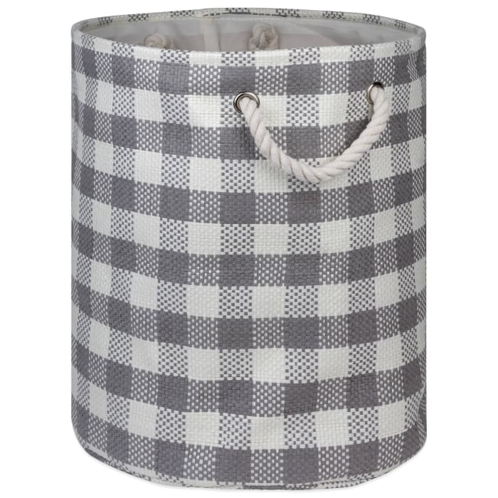 Paper Bin Checkers Gray Round Medium 13.75x13.75x17
