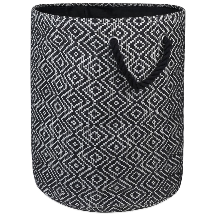 Paper Bin Diamond Basket weave Black/White Round Medium