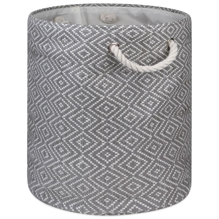 Paper Bin Diamond Basketweave Stone/Black Round Large 20x15x15