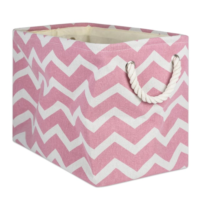 Polyester Bin Chevron Rose Rectangle Large 17.5x12x15
