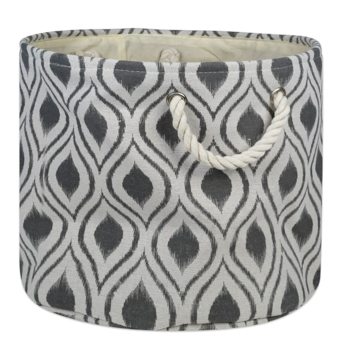Polyester Bin Ikat Mineral Round Large 15x16x16