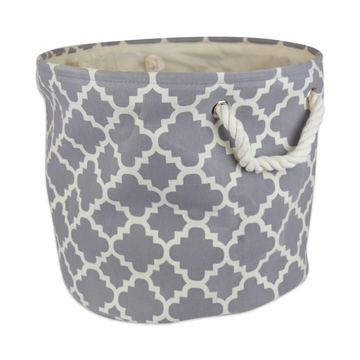 Polyester Bin Lattice Gray Round Medium 12x15x15