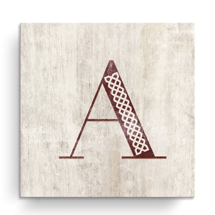 Vintage Inspired Monogram Tan Canvas Wall Art - Letter V