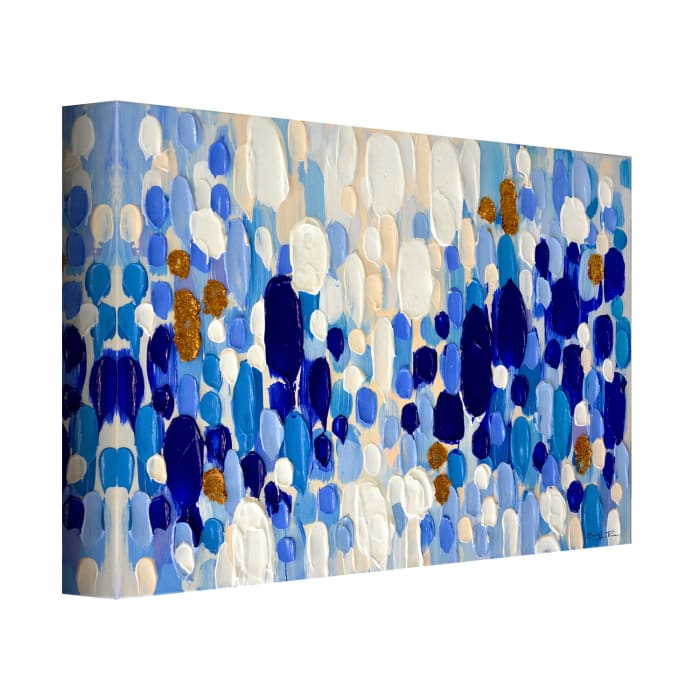 Confetti V Blue Canvas Wall Art