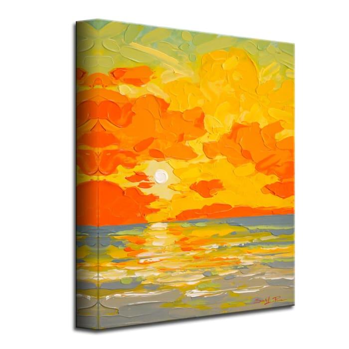 Sunburst Orange Canvas Coastal Wall Art