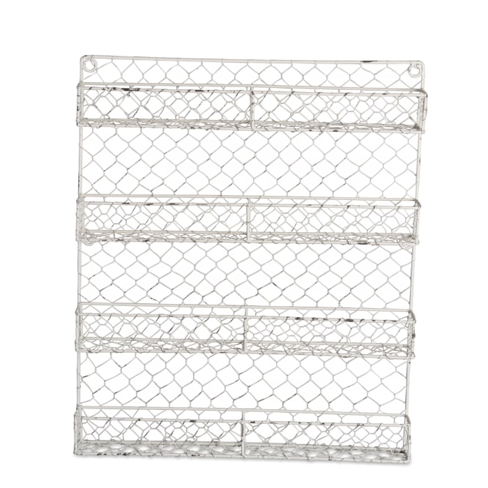 4 Row Chicken Wire Spice Rack Antique White